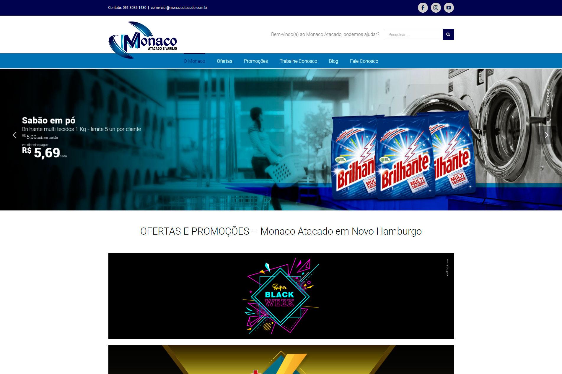 Desenvolvimento de site - Monaco Atacado